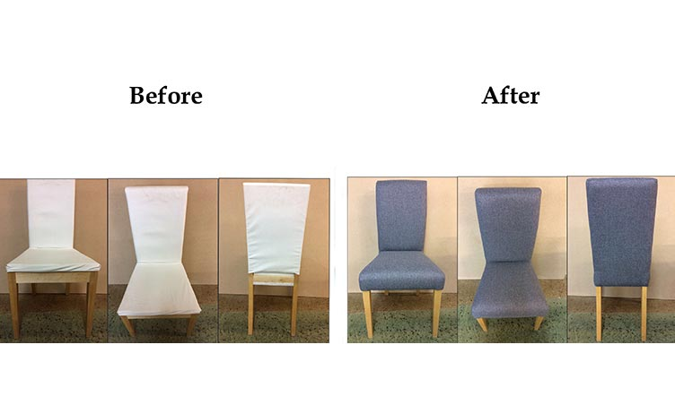 Before/After of reupholstery work carried out by Suite Illusions